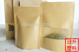 10*15cm 100pcs kraft paper standing bag with window envelope shopping bag with ziplock, coffee bean pouch