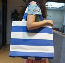 Wholesale DHL New woman bag large capacity canvas shopping bag high quality exports Canada Custom Brands Stripes handbag fashion shoulder bag