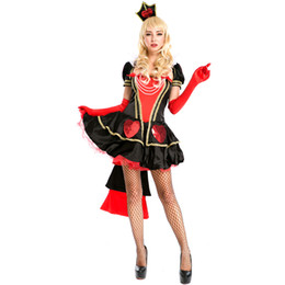 Wholesale Queen of Hearts Fancy Dress New Halloween Carnival Alice In Wonderland Cosplay Costume Women Sexy Short Sleeve Ball Gown A158594