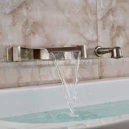 Wholesale Brushed Nickel Finished Bathroom Wall Mounted Waterfall Bath Tub Faucet with Handheld Shower
