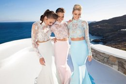 Wholesale 2016 TARIK EDIZ Two Pieces Evening Dresses Lace Long Sleeve Heigh Neck Floor Length Cheap White Blue Blush Prom Christmas Party