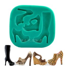 Wholesale 1pcs Silicone Cake Mould Fashion High Heel Shoes Boot Cupcake toppers Decor Pastry Cooking Tools Bakery reposteria patisserie