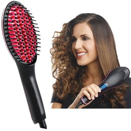 Wholesale Hair Straightener Brush Best for Beauty Styling electric hair straightener comb Anti static massage comb Digital Anti Static Anti Scald