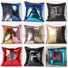 Wholesale Sequin Pillow Case Sequin Pillowslip Tone Color Pillow Case Reversible Cushion Cover Home Sofa Car Decor Mermaid Pillow Covers B673