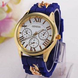 Wholesale The new Geneva silicone Roman typeface False eye chain watches on sale at Metal strap decoration