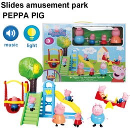 Wholesale Peppa Pink Pig Family Pack style children s slide amusement park play house toy cartoon Plastic doll toys for the children Christmas Gifts