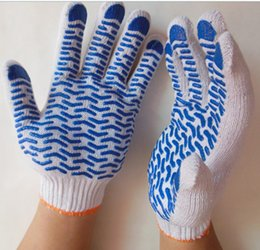 Blue PVC Dotted Glove One Side On 10G White Cotton Anti-Slip Protection Plastic Knitted Gloves Protective PVC Dotted Glove