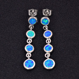 Wholesale & Retail Fashion Blue White Pink Fine Fire Opal Earrings 925 Silver Plated Jewelry For Women EMT16042610
