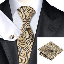 Men's Yellow Brown Tie Silk Necktie Cufflinks Hanky Jaquard Woven New Arrival Classic Stylish Tie N-1166