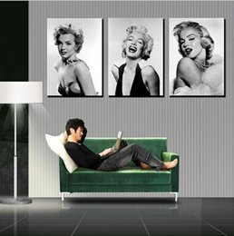 High Quality 3 panel moderm romantic home canvas painting decoration combinative marilyn monroe picture wall hanging