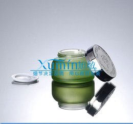 50g green frosted glass cream jar with shiny silver ABS lid, 50 gram cosmetic jar,packing for sample eye cream,50g bottle