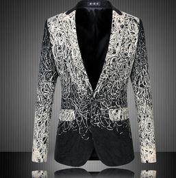 Fashion Design Hommes Blazer Floral Suit personnalité Casual Blazer Hommes Blazer Slim Fit Jacket Men Plus Size 5XL 6XL suits design men on sale à partir de costumes conception hommes fournisseurs