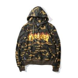 Wholesale Cotton Sportswear For Women - New THRASHER Skateboard Sweatshirts For Men Hooded Pullover Camo Hoodie Jacket Autumn Women Cotton Sportswear Cool Hoodies Sudaderas YBF0938