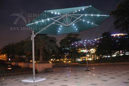 Wholesale Dia meter degrees rotation aluminum patio parasol sun umbrella with Led light garden sunshade outdoor furniture covers