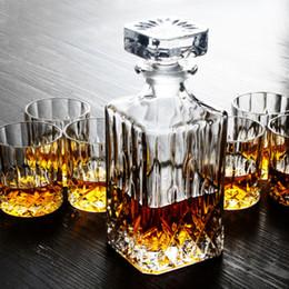 Wholesale 7pcs Crystal Design Glassware Sets Whiskey Wine Mug Cup Liquor Wine Drinking Glass Decanter Wine Bottle Elegant Drinking Decoration