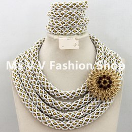Fantastic 4 Layers silver gold African Nigerian Wedding Beads Jewelry Set Chunky Statement Necklace Set for women gift