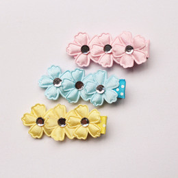 30pc lot Five Leaves Flower Pink Floral Crystal Baby Girls Hair Clips Cute Blue Yellow Flower Wholesale Hair Barrettes Accessory