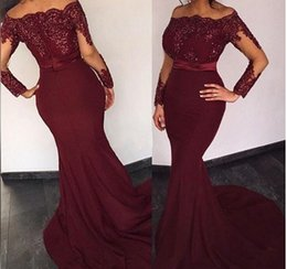Wholesale African Mermaid Evening Gowns Burgundy Off Shoulder Sequins Sash Illusion Long Sleeves Prom Dress Sweep Train Dubai Arabic Style Party Dress