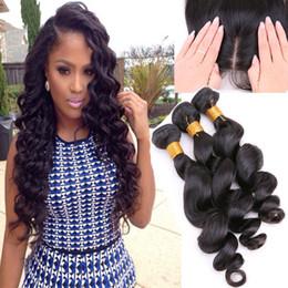 8A Brazilian Hair With Silk Base Closure Loose Wave Silk Base Closure With 3 Bundles Human Hair With Silk Closures