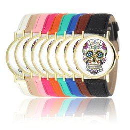 2016 Punk Fashion Simple Leather Band Woman Skull Dial Casual Watches for Woman Quartz Analog Women's Watch