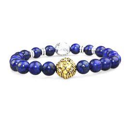SN0637 Double Lion head bracelet Silver gold lion head beaded bracelet Fashion Lapis bracelet for man