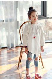 Wholesale 2016 Autumn New Girl Sweatshirts White arris edges Fashion Dresses Children Clothing T