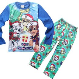 Wholesale Kids Pajamas poke Sets Cotton Cartoon Long sleeve Tops pants Homewear Suit paw patrol Snow Slide Clothes Children Baby Boys Girls Clothing