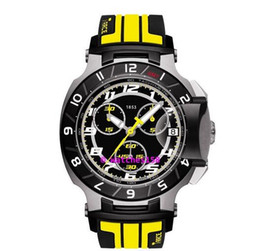Free Shipping Men's T048 Quartz Watch T048.417.27.057.13 T-Sport T-Race MotoGP Black Dial Yellow CHRONOGRAPH T0484172705713