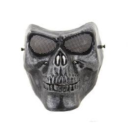 Full face silver masquerade Airsoft mascara terror Skull mask Warrior armor carnival Paintball biker mask scary Halloween Horror Mask