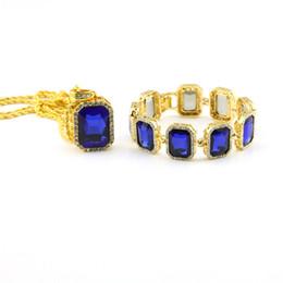 New Brand Hip Hop Jewellry Set Gold Blue Black Red Ruby Necklace Bracelet Men Bling Big Size