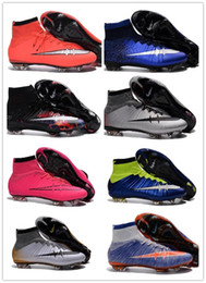 Wholesale Men Mercurial Superfly FG CR7 Soccer Shoes Children Soccer Cleats Laser Kids Boys football boots women Girls Football Shoes Best