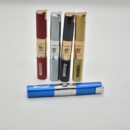 diamond long slender pattern Cigarette smoking lighter No Gas Butane Metal flame Lighters Tools 5 colors Lady Christams Gift