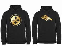 Wholesale Men s Steelers Hoodies Broncos Pro Line Black Gold Collection Pullover Hoodie Fashion American Football Pullover Sweatshirts