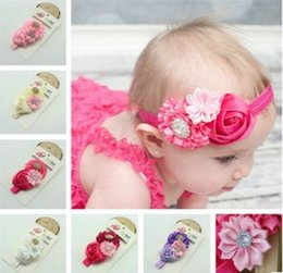 2016Hot ! Baby Girls Kids Lovely Roses Pearls Hair Bands Vintage Flowers Hair Accessories Pretty Headbands Infant Headbands 8 color