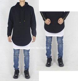Wholesale cool oversized hoodie men round extended side split zipper hoodies brand hip hop diamond slim fit sweatshirt pyrex hba swag