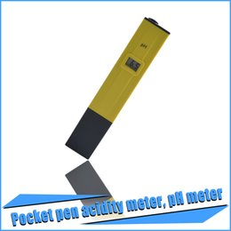 Wholesale 60pcs Digital Mini Digital LCD PH Meter Tester Pen Aquarium Pool laboratory Yellow With High Quality