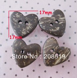 Wholesale Coconut Heart Buttons - WB0133 Natural coconut shell button 17MM heart pattern 100pcs lot apparel accessories