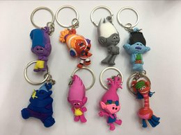 Wholesale Trolls Poppy keychain The Good Luck Trolls action figures PVC Collectable Model Toys for Kids Christmas Gift E1733