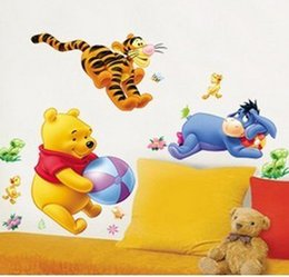 Wholesale Winnie The Pooh Bear Wall Sticker Kids DIY Adhesive Art Mural Poster Picture Removable Wallpaper Baby Room