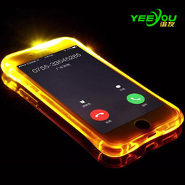 For iPhone 8 Case Call Lightning Flash LED Light Up Soft TPU Ultra Thin Clear Shockproof Cover Transparent Silicone Clear Galaxy S8 S8Plus