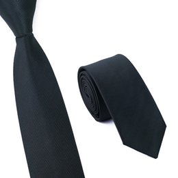 Hot Sale! Fashion Slim Ties For Men Wedding Party Brand Necktie Skinny Slim Solid Colors 6cm Black Corbatas E-003