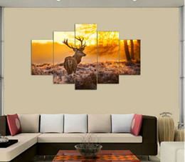 Wholesale Framed art Printed painting Elk painting set Group Painting room decor Home decoration canvas art F