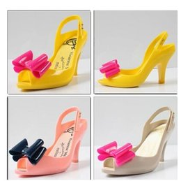 Wholesale Cheap Strap Sandal Heels - Style!Cheap Limited edition color candy color bowknot is high with jelly fish mouth shoes for women's shoes crystal plastic sandals