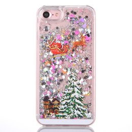 Wholesale Iphone plus S plus S7 S6 edge Note5 glitter Running Quicksand Liquid Dynamic Hard Casechristmas trees clear transparent shining Cover