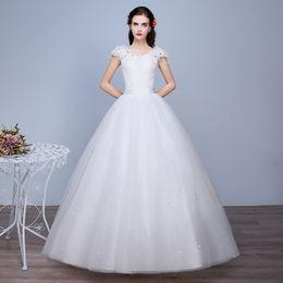 Shanghai Story Round Neck Applique Floor Length Wedding Dress Plus Size Bride Ball Gown Wedding Dress Lace Women's gowns
