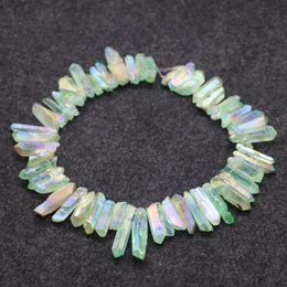 Natural Crystals Titanium Green AB Quartz Point Pendants, Raw Healing Gemstone Spikes Top Drilled Briolettes Rock, Women Necklace Beads