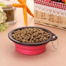 Wholesale Dog Feeders Silica Gel Folding Portable Pet Bowl With Container Easytake Cat Bowl Feeders Pet Drink Bowl Dish Silicone Dog Feeder Bowl C