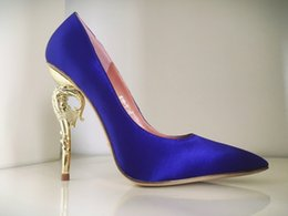 Ralph & Russo Haute Couture Collection SHOES blue satin party PUMPS EMERALD SATIN WITH YELLOW GOLD HEEL Wedding Shoes for Modern Brides