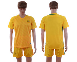 Wholesale 2016 Season Australia Home Yellow Blank Soccer Jersey Short Kits Mens Football Uniforms able custom name number brand new with logo