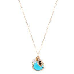 Wholesale 10pcs New Style Multi layer Gold Aquamarine Stone Aqua Blue Stone Feminine Initial S Pearl Crystal necklaces pendants